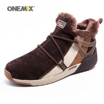ONEMIX New Winter Men's Boots Warm Wool Sneakers Outdoor Unisex Athletic Sport Shoes C