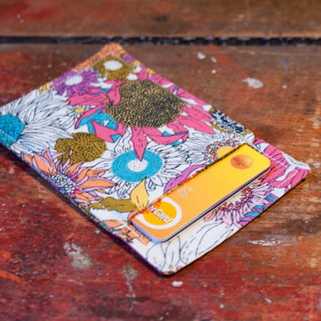 Slim card wallet - Colorful flowers - Credit card wallet - Credit card case - Card Sleeve - Business card case - Front pocket wallet - OOAK