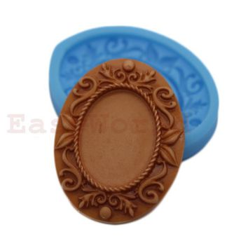 Pendant Setting Frame Silicone Mold for Polymer Clay Resin Fit28x20mm Cameo