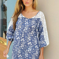 Jasmine Floral Print Lace Sleeve Tassel Blue Tunic Dress