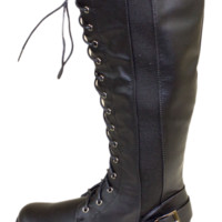 Black Lace Up Tall Combat Boot With Buckle Strap