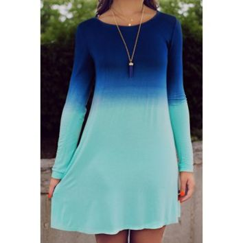 Stylish Scoop Collar Long Sleeve Ombre Color Women's Dress (AS THE PICTURE,M) in Long Sleeve Dresses | DressLily.com