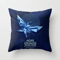The Mockingjay Lives Throw Pillow by Joy Recibe