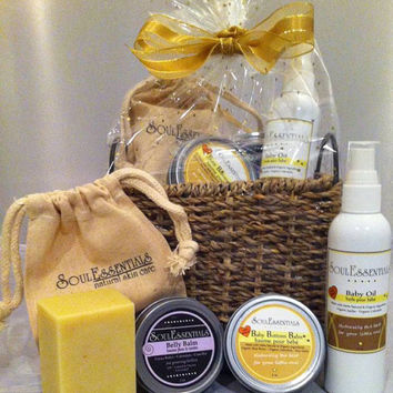 Organic Baby & Mom Gift Basket - *Stretch Marks* *Diaper Rash* *Unscented Oatmeal Organic Soap*