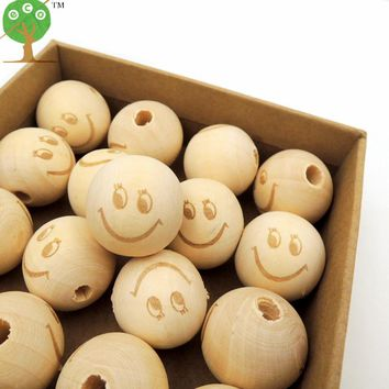 30pcs wood round ball  SMILE FACE EMOJ bead shaped burnt engrave diy accessory wooden craft for teether EA144-1