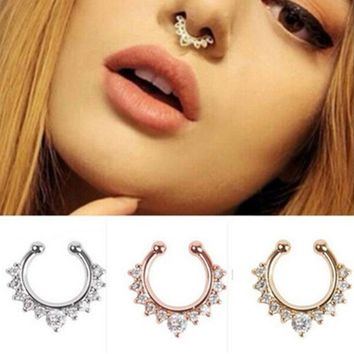 New Fashion Titanium Crystal Nose Ring Septum Nose Hoop Ring Piercing Body Jewelry