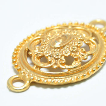 1 Piece Gold Filigree Jewelry Connector, Filigree Jewelry Spacer, Jewelry Findings