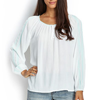 LOVE 21 Embroidered Peasant Top White/Mint