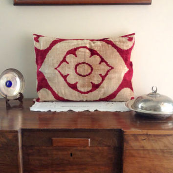 Red Velvet Silk Real Ikat Pillow Cower -free shipping