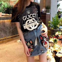 Gucci Women Casual Fashion Letter Print Rhinestone Short Sleeve T-shirt Top Tee