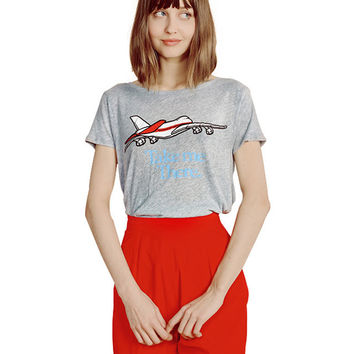 Airplane Print Short Sleeve T-shirt