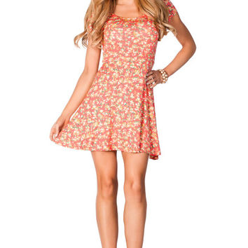 Daisy Coral Floral Print ALine Empire Waist Casual Short Sleeve Dress