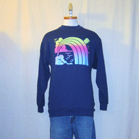 Vintage 80s RAINBOW GRAPHIC Flocked Soft Navy Blue Unisex Medium Stylish Retro 50/50 Crewneck SWEATSHIRT