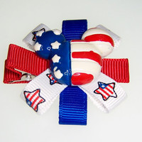 Mickey Mouse inspired July 4th Hair Clip - hair barrette clippie