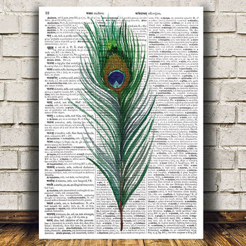 Bird print Feather poster Watercolor decor Dictionary print RTA1421