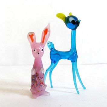 Vintage pair of blown glass animal figurines / pink rabbit and blue deer gazelle