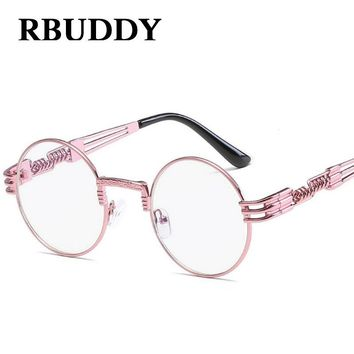 RBUDDY steampunk sunglasses Pink Women Metal Frame Retro Round Clear Lens Vintage steampunk Goggle sunglasses lunette Hipster