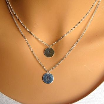 Two Initials Personalized sterling silver double coin necklace