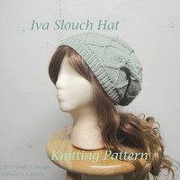 Iva Slouch Hat Knitting Pattern, Diamond Cable, Star Shaping, Intermediate Knit, Worsted Yarn, Tam Hat, Slouchy Beanie