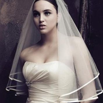 Lace bridal veils white wedding accessories one layers white veils short head wear wedding veil