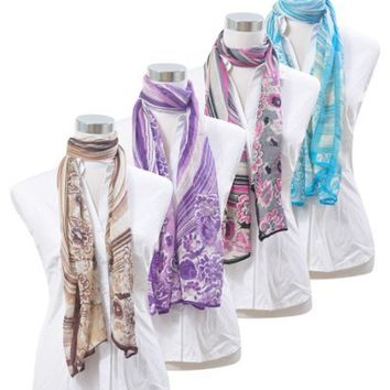 New Gradual Curves with Floral Design Viscose Scarf