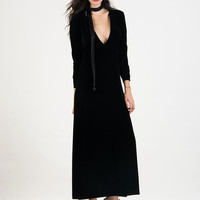 Black Deep Plunge Long Sleeve Velvet Maxi Dress