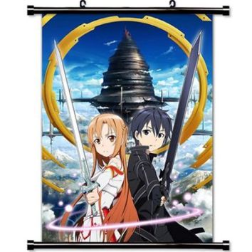 Sword Art Online: Asuna and Kirito Fabric Wall Scroll Poster (32x45) Inches