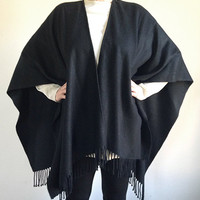 Vintage Black Poncho -- Open Front -- Fringed Cape -- Oversized Wrap -- Soft Knit -- One Size Fits Most