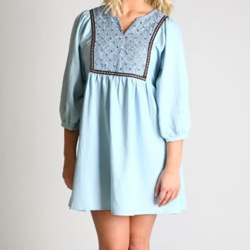 Umgee Ice Denim Peasant Dress
