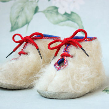 NEW Soviet Baby Moccasins / Adorable NOS Fluffy Mohair & Suede Lace Up Ankle Booties / Cute Soft USSR Vintage Toddler Boots, House Slippers