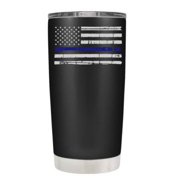 Distressed Thin Blue Line Police Flag on Black Matte 20 oz Police Tumbler