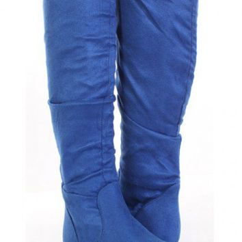 Royal Blue Faux Suede Slouchy Design Slip On Boots @ Amiclubwear Boots Catalog:women's winter boots,leather thigh high boots,black platform knee high boots,over the knee boots,Go Go boots,cowgirl boots,gladiator boots,womens dress boots,skirt boots,pink b
