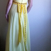 Vintage 70s Bright Yellow Prairie Dress