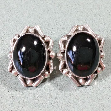 Vintage Earrings Stone Black Onyx Sterling Silver Big Bold Unusual Unique Bezel Set Natural Shiny Polished Smooth Not Ordinary Oval Shaped