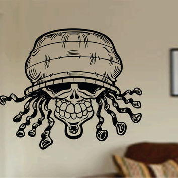 Rasta Skull Wall Vinyl Decal Sticker Sugar Skull Sugarskull