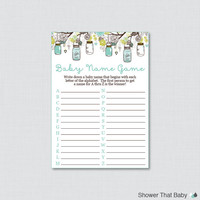Aqua Mason Jar Baby Shower Baby Name Game - Baby Name Race Game - Printable Download - A to Z Baby Game Aqua Baby Shower Game - Mason Jar