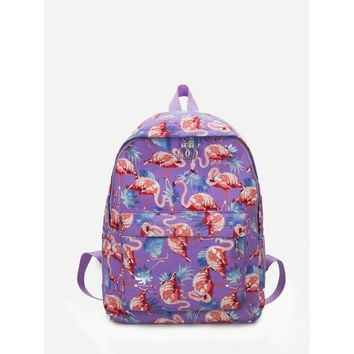 Flamingo Print Canvas Backpack