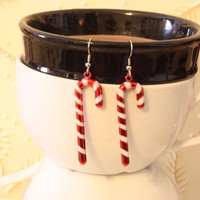 Candy Cane Ornament Earrings - Repurposed Christmas Tree Ornaments - Dangle Earrings - Holiday Jewelry