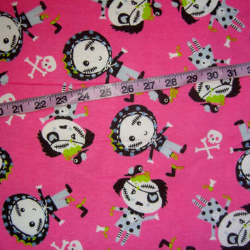 Zombie flannel fabric skull crossbones pink cotton quilting sewing material by the yard 1yd HTF