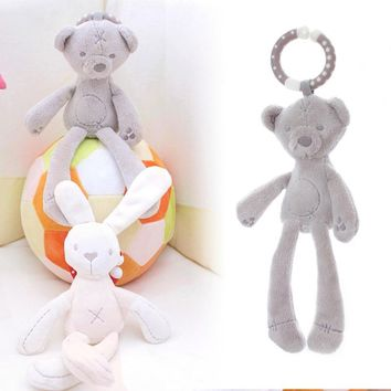 cute Baby Crib Stroller Toy Rabbit Bunny Bear Soft Plush infant Doll Mobile Bed Pram kid Animal Hanging Ring Ring Color Random