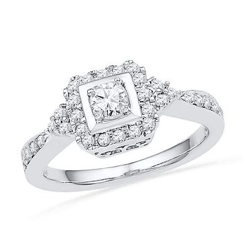 10kt White Gold Women's Round Diamond Solitaire Halo Bridal Wedding Engagement Ring 1/2 Cttw - FREE Shipping (US/CAN)