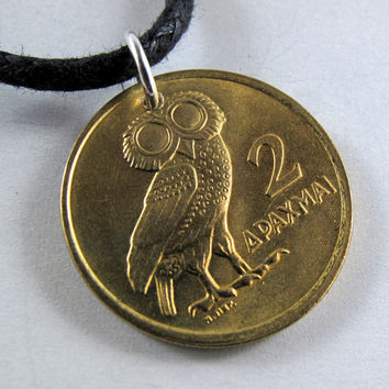 GREEK OWL coin NECKLACE lucky owl Pendant 2 Drachma 1973 greece No.00859