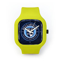 Bellarmine Seal Watch in a Neon Yellow Strap