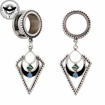 Dark Light 1Pair Surgical Steel Ear Tunnel Reamer Ear Plug Bohemia Style Dangle Gauges Body Piercing Jewelry Ear Expander 6-30mm