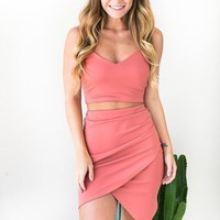 Own It Peach Matching Set - CROP TOP