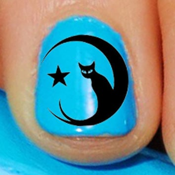 70 DECALS Black Cat in the Moon - Familiar Symbols - Nail WRAPS Nail Art Water Slide Transfers Wiccan