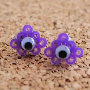 Googly Perler Studs - jiggly eye purple fusible bead handmade unique swag cute creepy free shipping to USA