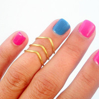 3 Chevron Above Knuckle Rings - Chevron Knuckle Rings - Set of 3 by Little Thing's