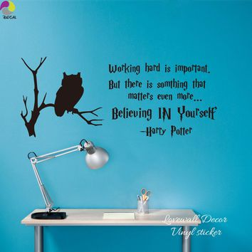 Harry Potter Inspiration Quote Wall Sticker Office Working Hard Believing yourself Motivation Quote Owl Branch Decal Kids Room