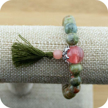 Unakite Mala Bracelet with Cherry Quartz Crystal